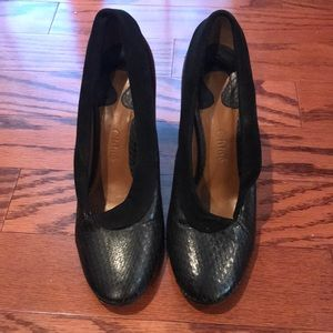 Black Chloé shoes with chunky heel. Size 39.5
